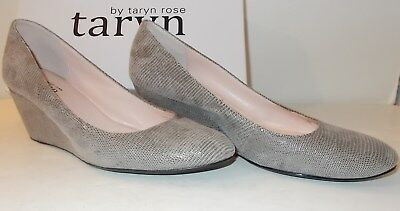 c071c4a94b5 Taryn Rose Womens Wedge Pumps  Kathleen  Soft Grey Sueded Leather Shoes