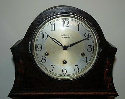 Antique Vintage Mantel Clock - G&F Evans of Coventry - Westminster Chime & Key