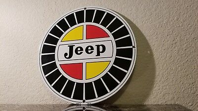Vintage Jeep Willy's Overland Porcelain Gas Auto Service Station Pump Plate Sign