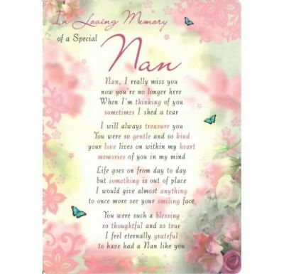Graveside Card IN LOVING MEMORY OF A SPECIAL NAN Grave Verse Memorial Funeral💔