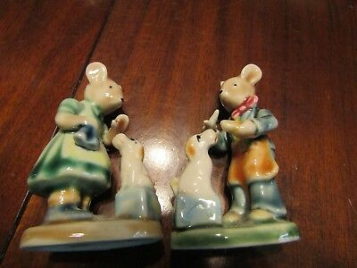 Miniature Porcelain Rabbit Woman Rabbit with Dog Man Rabbit with Dog Pair Set 2