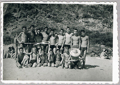 #30 Group of boys swimmers at the beach summer camp photo vintage 1950's