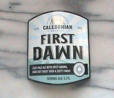 Caledonian First Dawn real ale beer pump clip sign