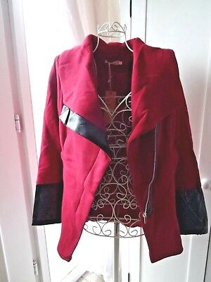Casual jacket faux leather contrast maroon size 10 (M) Flamode Paris