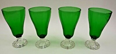 Set of 4 Vintage Anchor Hocking Forest Green Boopie 6 3/4' Water Ice Tea Glasses