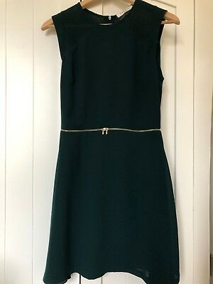 Sandro Zip Waist Fit Flare Dress, Dark Green, UK 6, New with Tags