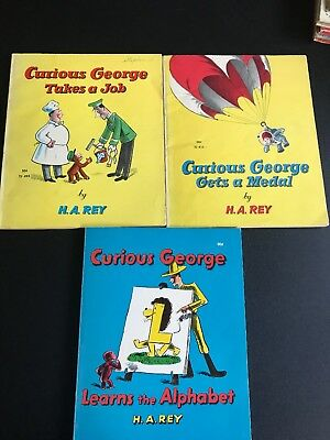 Lot of 3 Curious George Books Margaret H. A. Rey Vintage 1963 1970 1964