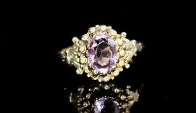 Antique Georgian / Early Victorian Gold And Natural Amethyst Ring. Size N.