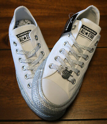 93fb59ae8c4 Womens Converse x Miley Cyrus Chuck Taylor All Star Glitter Low Top White