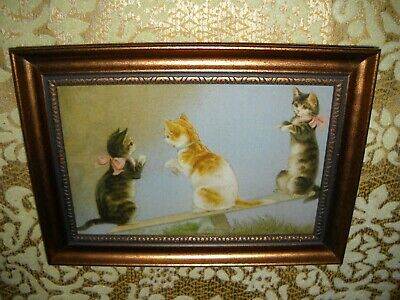 CATS PLAY ON SEE-SAW 4 X 6 gold framed animal picture Victorian style art print
