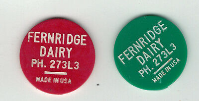 B.C.  , Port Alberni ,  Fernridge Dairy ,  pair of plastic milk tokens