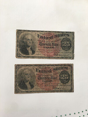 1863 25 Cent US Fractional Currency Note, 4th issue Lot of 2