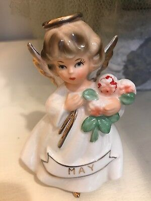 """VTG Lefton Figurine """"May Angel"""" holding Flowers With Gold Accents"""