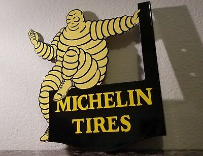 Vintage Michelin Porcelain Gas Motor Auto Tires 2 Sided Man Service Station Sign
