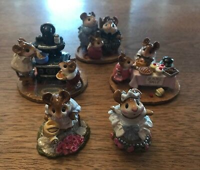 Wee Forest Folk WFF Lot Of 5 -220 Mousey's Bake Sale RETIRED More W/ Boxes