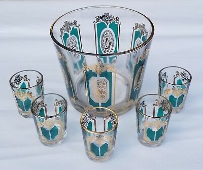 Clear Glass Ice Bucket With 5 Shot Glasses Green and Gold Design w Gold Rim