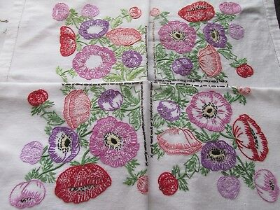 Vintage Hand Embroidered Tablecloth-BEAUTIFUL RAISED ANEMONE FLOWERS