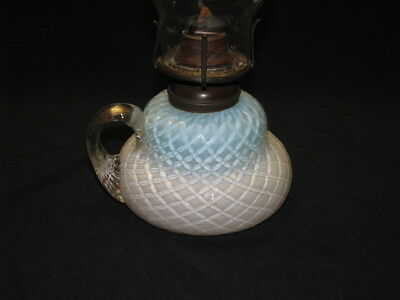 Miniature blue opalescent quilted oil lamp or fairy finger lamp...Nice!