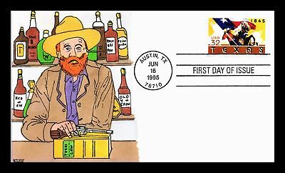 Dr Jim Stamps Us Hand Colored Texas Saloon Cachet Fdc Kribbs Cover Austin