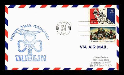 Dr Jim Stamps Us New York First Flight Air Mail Cover Ireland Backstamp 1974