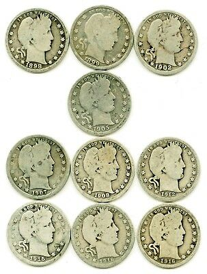 Lot of 10 Barber 90% Silver Quarters, 1898-1916, includes 1905   - NR Auction