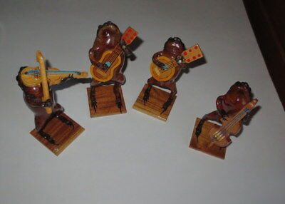 Lot (4) Frog Stuffed Taxidermy Musicians Music Instruments
