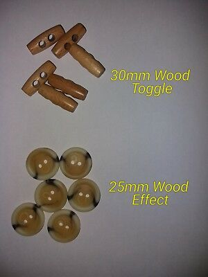 5pc 30mm Grey and Black Mock Wood Effect loop Back Toggle Button 2521