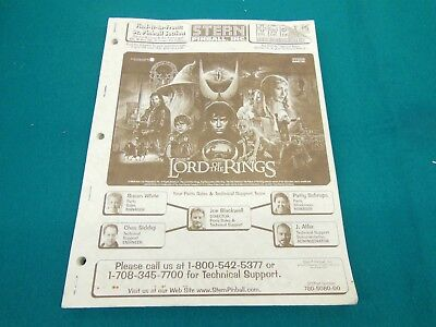 Stern The Lord of the Rings LOTR Pinball Original Manual