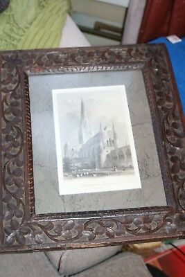 Antique Handmade Carved Oak Frame Very old Dovetail Joints Collectible