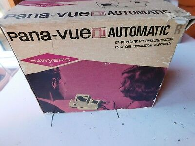 Sawyer's Pana-Vue Automatic 2x2 Slide Viewer with Working bulb with box and supp