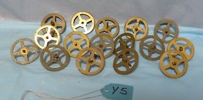 Lot of 16 Antique Brass/Metal Clock Gears and Posts~Steampunk Altered Lamp Art