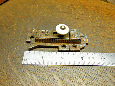 Antique Ornate Cast Iron Victorian Cabinet Door Latch Lock  Porcelain Knob