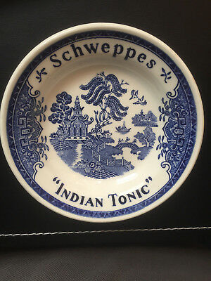 """Extremely Rare Vintage Schweppes Blue Willow Indian Tonic Tip Plate 5"""" across"""