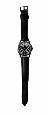 Marvel Comics AGENTS OF SHIELD Logo Genuine Leather Band WRIST WATCH
