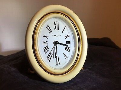 Lovely Vintage Cartier Desk Alarm Clock - Creme Enamel & Gold Plated