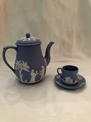 Wedgwood Blue Jasperware Teapot With Cup And Saucer 1960