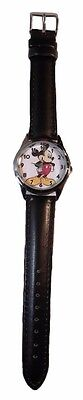 MICKEY MOUSE Black Leather Band WRIST WATCH