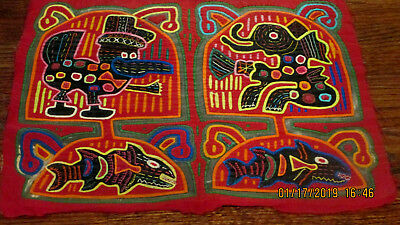 "Mola Elephant Bird Fish Very Old Hand Stitched Panama 17"" x 12"""