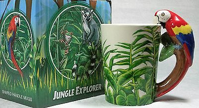 Ceramic Mug Red Parrot in Rain Forest 9319844520041 RAINFPARM NEW in Box