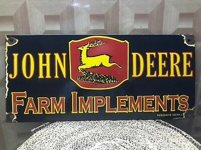 "John Deere Farm Implements 17 3/4"" x 8 1/4"" Vintage Porcelain Enamel Sign."