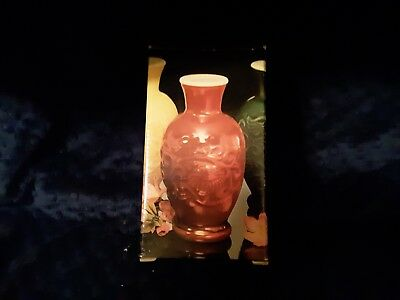 Vintage Avon Red/Orange Milk Glass Spring Bouquet Fragrance Vase
