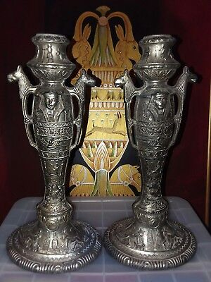 Egyptian Revival Figural Metal Candlesticks art deco An Amazing Find!