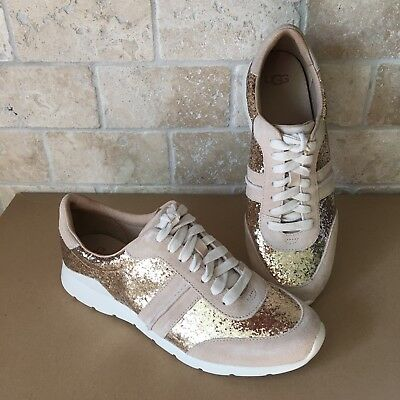 528dd46c4c7 UGG JAIDA GLITTER Gold Metallic Leather Lace-Up Sneakers Shoes Size ...