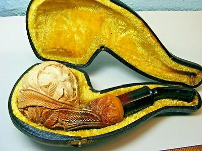 Vintage Antique Hand Carved Flowers Floral Meerschaum Pipe & Case - Used!