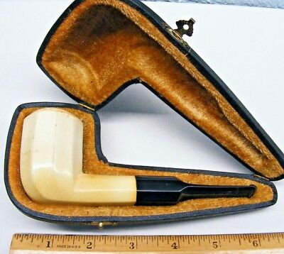 Vintage Antique Hand Carved Meerschaum Pipe & Case - Used!