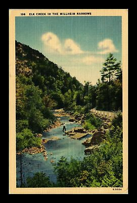 Dr Jim Stamps Us Elk Creek The Millheim Narrows Linen View Postcard
