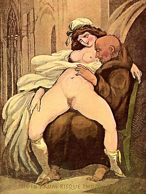 "Nude Woman Lover on Lap 8.5x11"" Photo Print Thomas Rowlandson Illlustration Art"