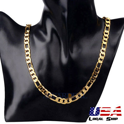 Men's 24K Gold Plated Nobleman 46cm Simple Curb Chain Necklace Fashion Jewelry