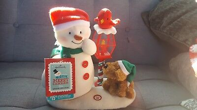 2013 Hallmark Merry Carolers Trio Animated Jingle Pals Snowman And Dog With Tags