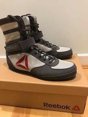 Reebok Boxing Boots - Buck - 9.5 (UK) - Ash Grey/Skull Grey/Excellent Red/White